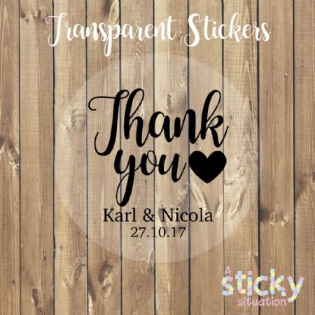 Personalised Transparent 'Thank you' Stickers